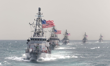 The USS Hurricane (PC 3) leads other coastal patrol ships during an exercise in March 2014.