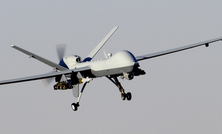 An MQ-9 Reaper prepares to land after a mission in support of Operation Enduring Freedom in 2007.
