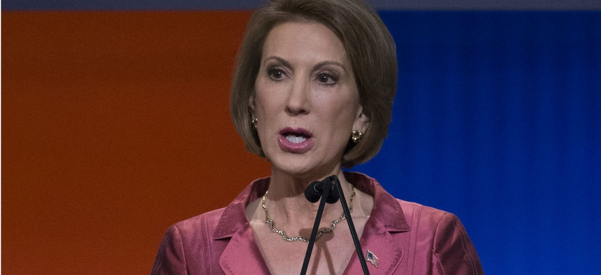 Increasingly popular Republican contender Carly Fiorina brings up the bureaucracy in almost every appearance.