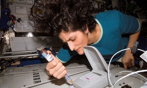 NASA astronaut Suni Williams works on the International Space Station in 2007.