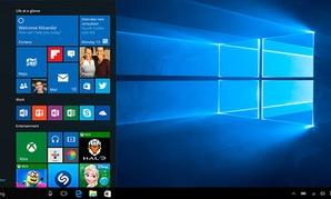 The Windows 10 start screen