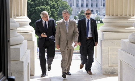 Rep. Mick Mulvaney, R-S.C., (center) is leading the fight to defund Planned Parenthood.