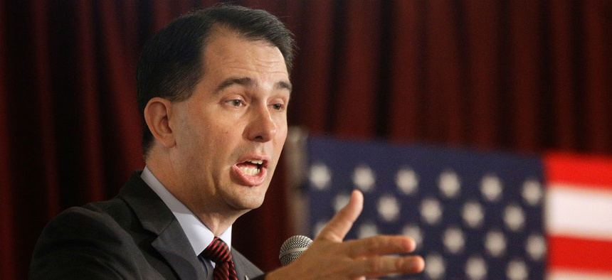 "Republican presidential contender Scott Walker wants to transfer ""power from the big government union bosses to the hardworking taxpayer."""
