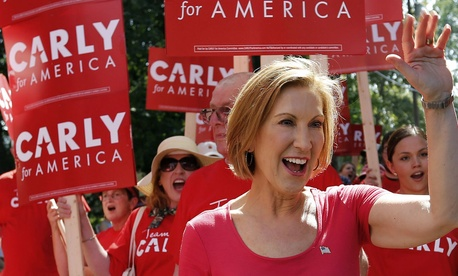 GOP presidential candidate Carly Fiorina marches in a Labor Day rally in New Hampshire.