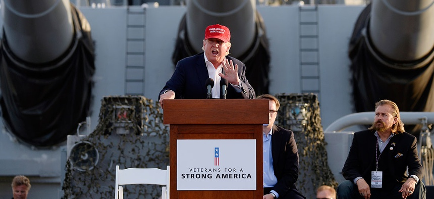 Donald Trump spoke during a campaign event aboard the USS Iowa battleship Tuesday.