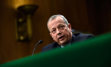 Special Presidential Envoy for the Global Coalition to Counter IS, retired Gen. John R. Allen testifies on Capitol Hill in February.
