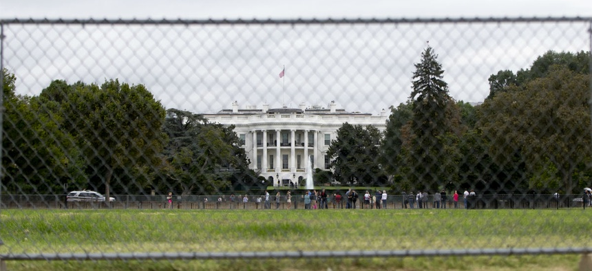 Security preparations at the White House, in anticipation of Pope Francis' visit Wednesday.
