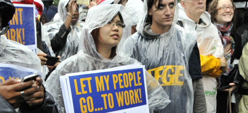 Union members protest during the October 2013 government shutdown.