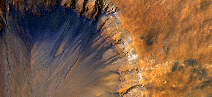A crater in the Sirenum Fossae region of Mars.