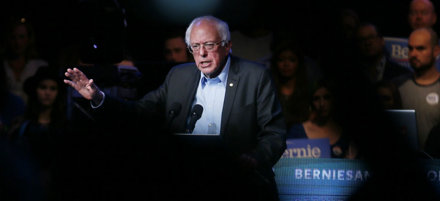 Democratic presidential candidate Sen. Bernie Sanders speaks at a fundraiser Wednesday.