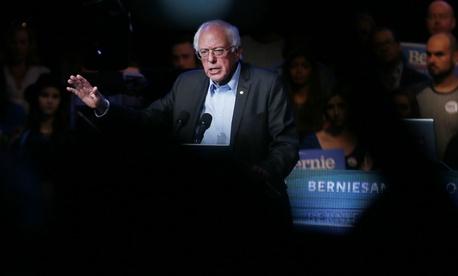 Democratic presidential candidate Sen. Bernie Sanders speaks at a fundraiser Wednesday.