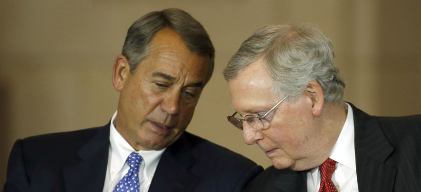 House Speaker John Boehner (left) and Senate Majority Leader Mitch McConnell. The Senate had been waiting for the House to act, but it now looks like the Senate may have to make the first move.