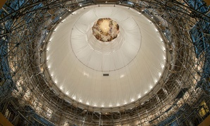 The interior of the Capitol Dome is under construction currently.