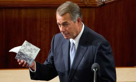Outgoing House Speaker John Boehner addresses the chamber on Thursday.
