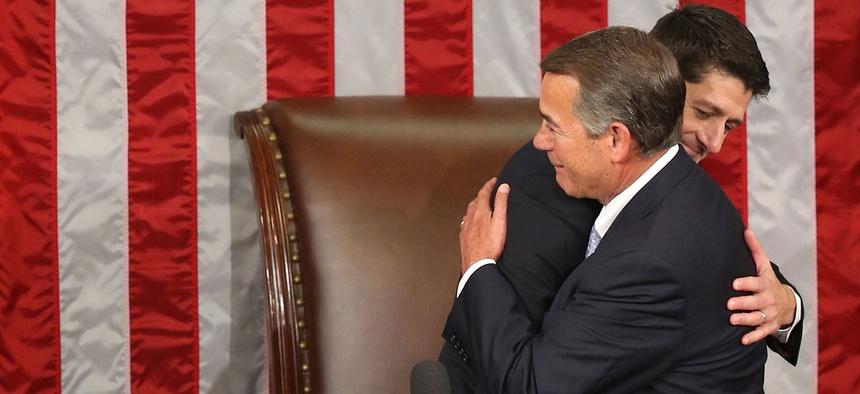 Paul Ryan and John Boehner embrace after Ryan's election Thursday.