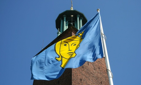 Stockholm's city flag is inspired by a mediaeval seal of the city featuring St. Eric.