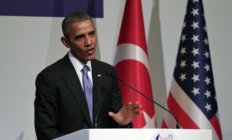 President Obama defends his Syria strategy during a news conference at the end of the G-20 summit in Antalya, Turkey, Monday.