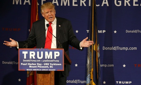 Republican presidential candidate Donald Trump speaks at a rally coinciding with Pearl Harbor Day.