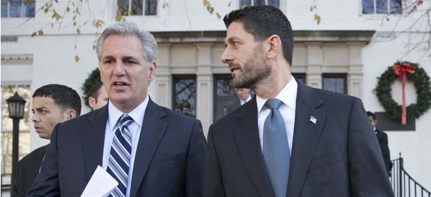 House Majority Leader Kevin McCarthy (left) and Speaker Paul Ryan leave a press conference after a GOP caucus meeting.