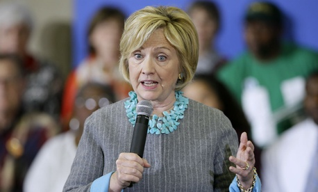 Clinton speaks during a town hall meeting Wednesday in Iowa.