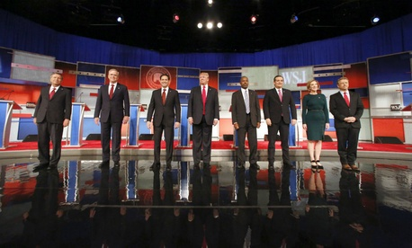 Republican presidential contenders take the stage for their Nov. 10 debate.