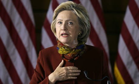 Clinton speaks about her counterterrorism strategy on Tuesday.