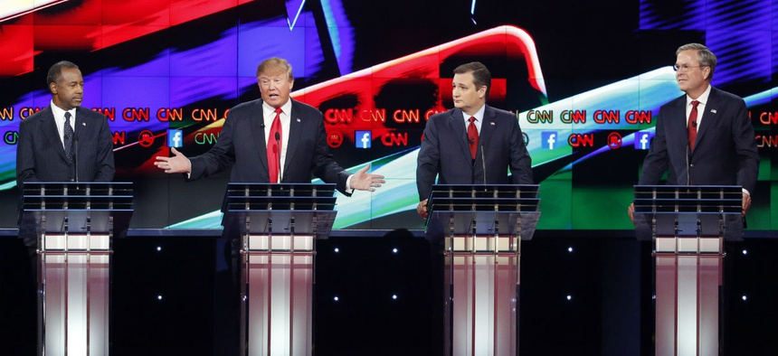 Republican candidates (from left) Ben Carson, Donald Trump, Ted Cruz and Jeb Bush.