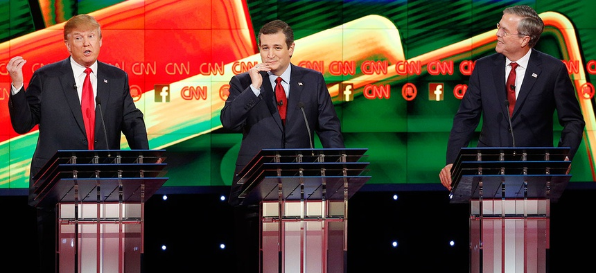 Donald Trump, Ted Cruz and Jeb Bush participate in the GOP debate Tuesday in Las Vegas.