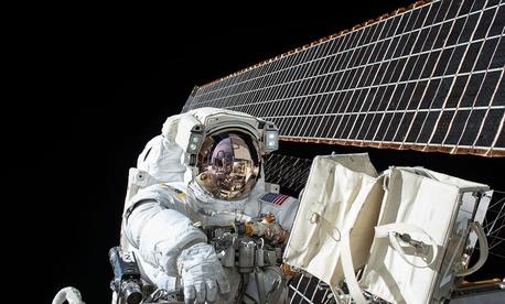 NASA astronaut Scott Kelly conducts a spacewalk in November.