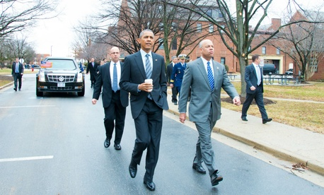 Obama arrives at DHS headquarters in February to deliver remarks on his proposed fiscal 2016 budget.