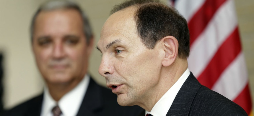 Secretary of Veterans Affairs Robert McDonald, right, speaks as Rep. Jeff Miller, R-Fla., Chairman of the House Committee on Veterans Affairs, looks on during a news conference in October.