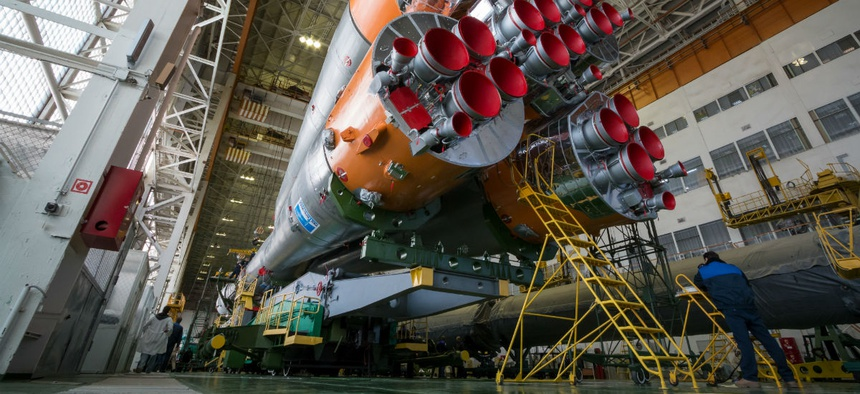 The Soyuz rocket and Soyuz TMA-19M spacecraft, assembled in Baikonur, Kazakhstan.