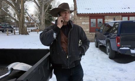 Ryan Bundy talks on the phone at the Malheur National Wildlife Refuge near Burns, Ore., on Sunday.