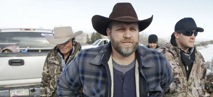 Ammon Bundy arrives for a news conference at Malheur National Wildlife Refuge near Burns, Ore.