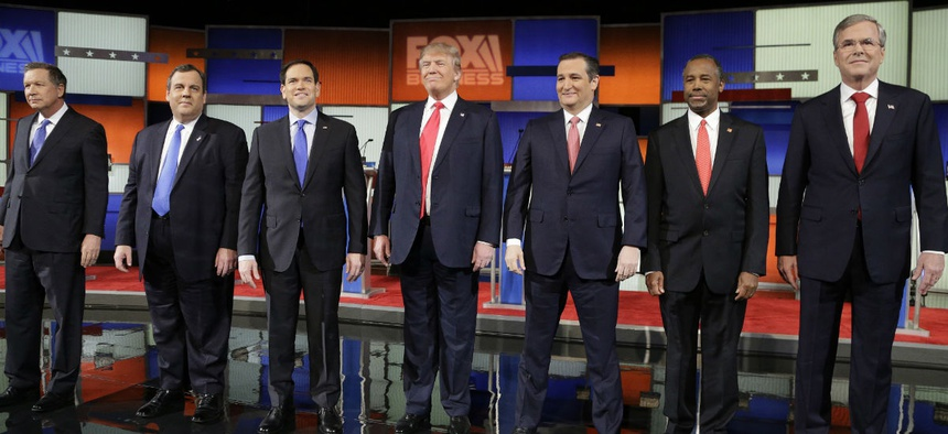 Republican presidential candidates, from left, Ohio Gov. John Kasich, New Jersey Gov. Chris Christie, Sen. Marco Rubio, R-Fla., businessman Donald Trump, Sen. Ted Cruz, R-Texas, retired neurosurgeon Ben Carson and former Florida Gov. Jeb Bush.