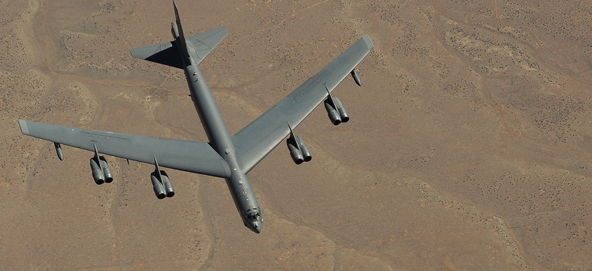 A B-52 Stratofortress is refueled over Utah in 2012.