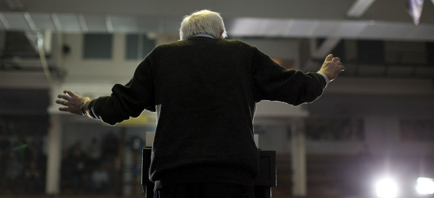 Democratic presidential candidate Sen. Bernie Sanders, I-Vt., speaks at a campaign event in Iowa.
