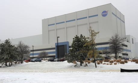 The NASA Goddard Space Flight Center in 2009 under snow and ice.