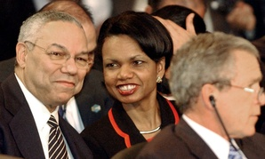 Colin Powell, left, and Condoleezza Rice both served as secretary of State under President George W. Bush