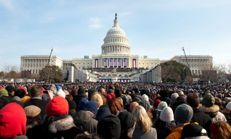 A crowd gathers for President Obama's first inauguration.