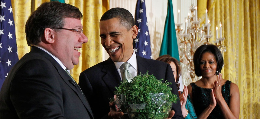 Obama receives a gift of shamrock from Ireland Prime Minister Brian Cowen in 2010.