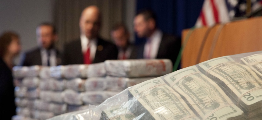 DEA officials hold a news conference on a large heroin seizure in New York state.