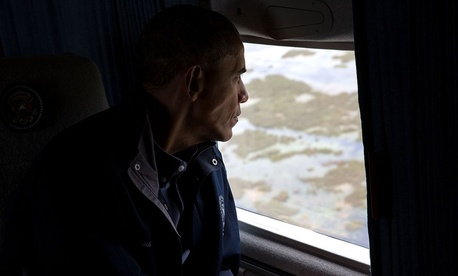 Obama looks at Everglades National Park from Marine One in April