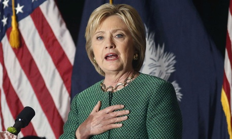 Democratic presidential candidate Hillary Clinton campaigns in South Carolina Wednesday.