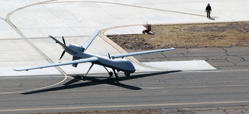 A CBP drone taxies on a runway in Southwest Texas in 2011.