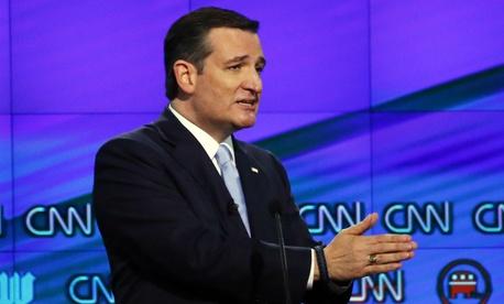 Republican presidential candidate Ted Cruz participates in Thursday's debate.