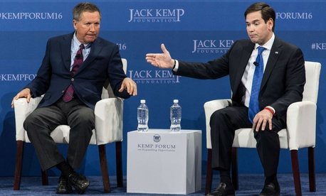 Republican presidential candidates John Kasich (left) and Marco Rubio, at a forum in February.
