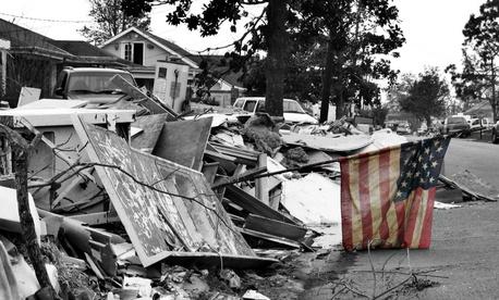 The aftermath of Hurricane Katrina in Chalmette, Louisiana.