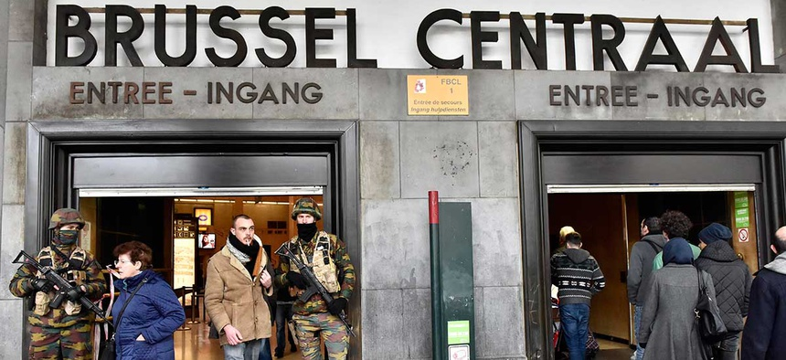 Police secure the central station in Brussels Wednesday after Tuesday's attack.