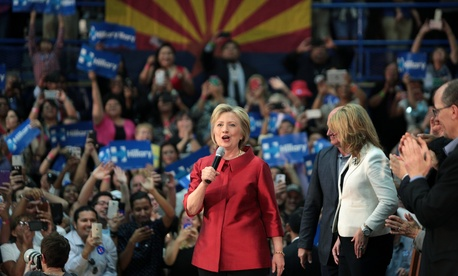 Clinton campaigned Tuesday in Arizona.